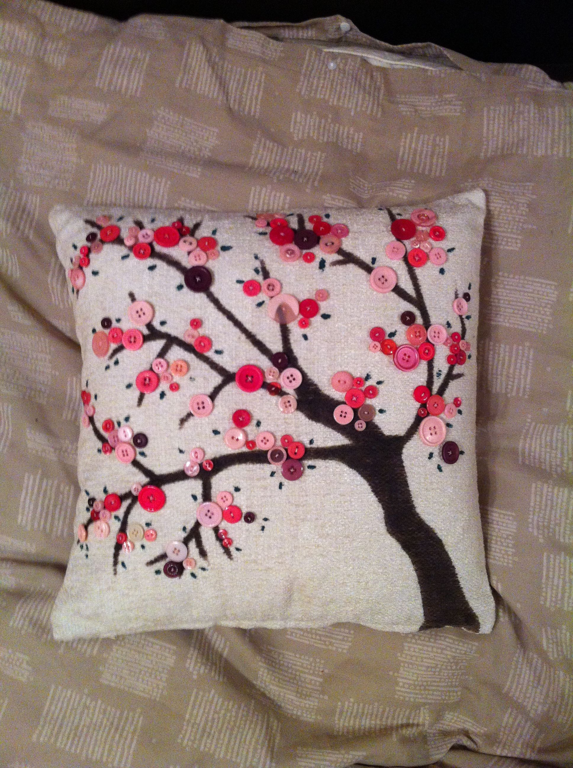 Pink Button Blossom Tree On A Cushion Cover