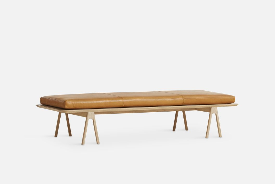 Level Daybed 190×76.5cm, Leather, Oak/Cognac