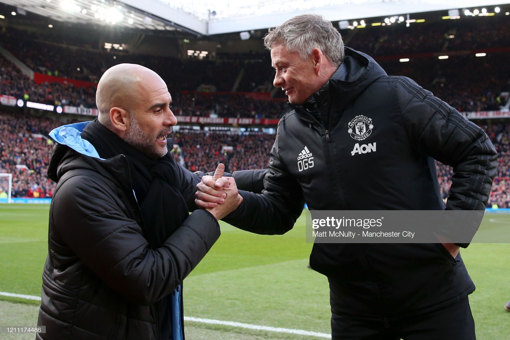 Pep Guardiola Manager Of Manchester City Shakes Hands With Ole In 2020 Manchester City Manchester Pep Guardiola