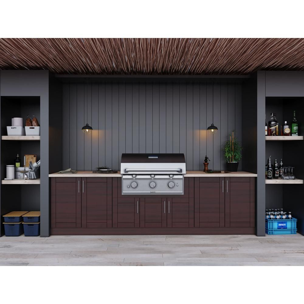 Weatherstrong Sanibel Mahogany 17 Piece 121 25 In X 34 5 In X 28 In Outdoor Kitchen Cabinet Set Wse120wm Smh The Home Depot Outdoor Kitchen Cabinets Modular Outdoor Kitchens Kitchen Set Cabinet