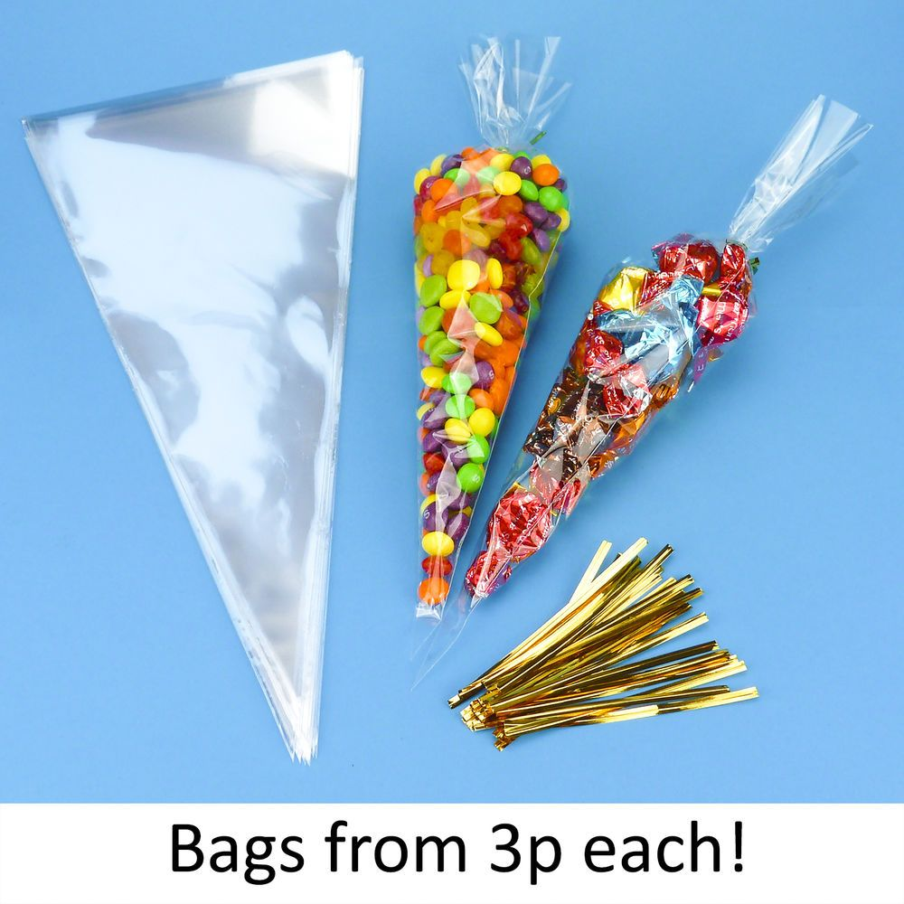 20 Clear Cellophane Sweet Cone Bags  Free Postage