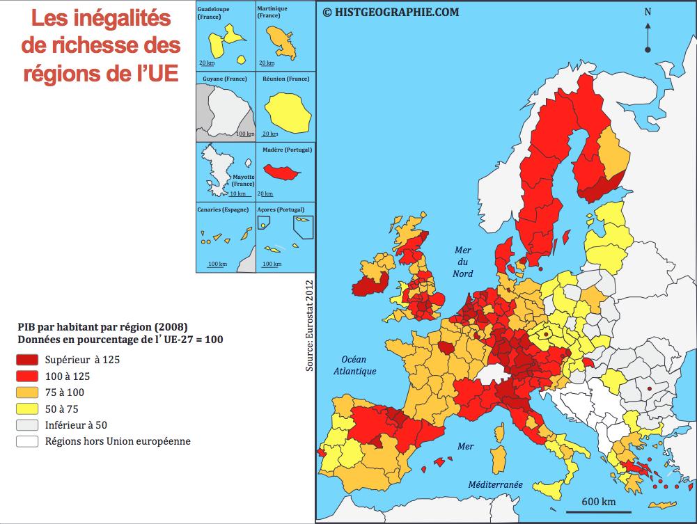 L Inegalite Des Regions De L Union Europeenne A Travers Leur Pib Source C Histgeographie Com D Apres Eurostat 2 Union Europeenne Geographie Ocean Atlantique