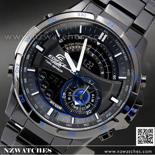 5d94f985967 Casio Edifice Thermometer Compass Super illuminator Black Blue Watch  ERA-200DC-1A2