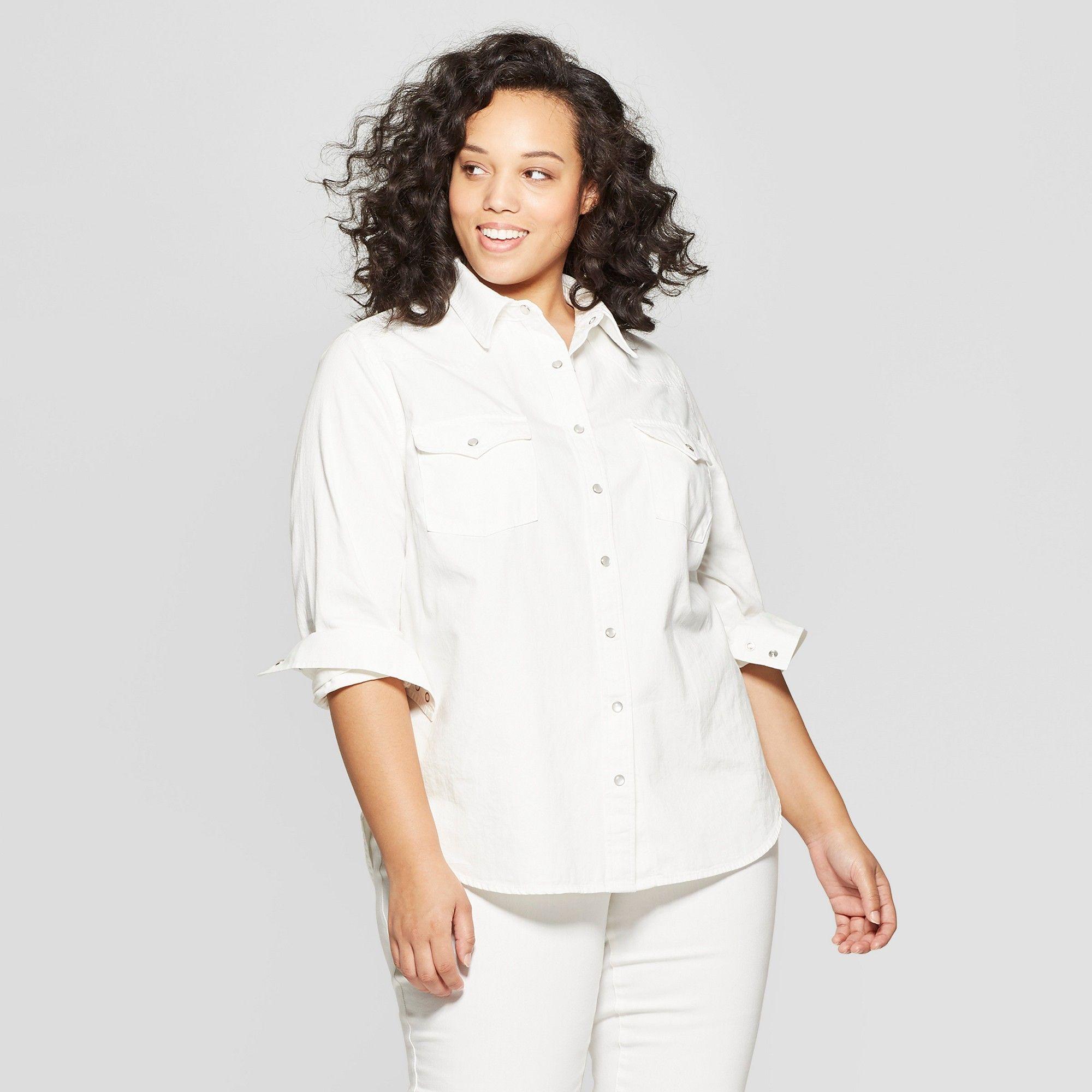 747e33dc7e6 Women s Plus Size Striped Long Sleeve Cropped Button-Down Shirt - Wild  Fable  Gray 1X  Long