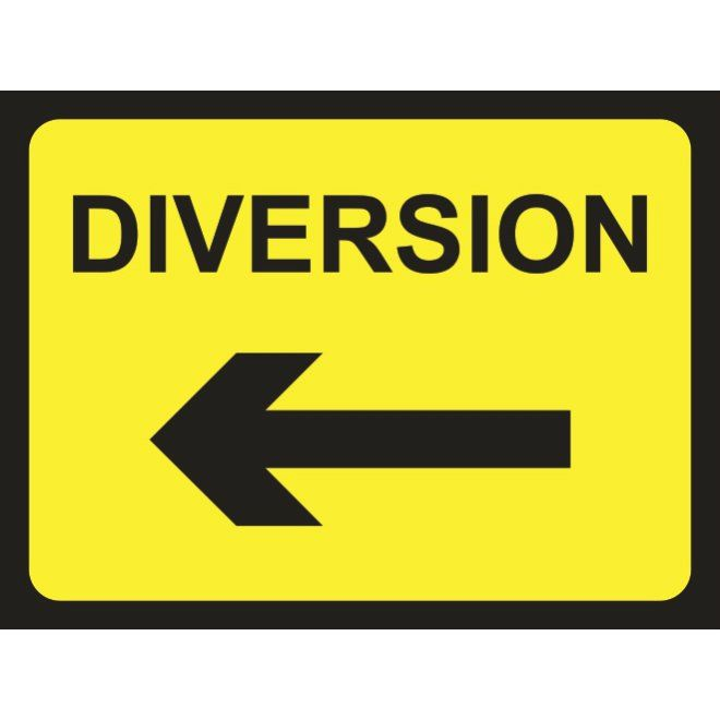 diversion road sign arrow left temporary road signs pinterest