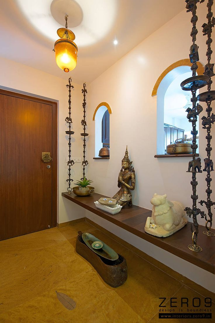 Entrance area interiors foyers and puja room for Indian home interior living room