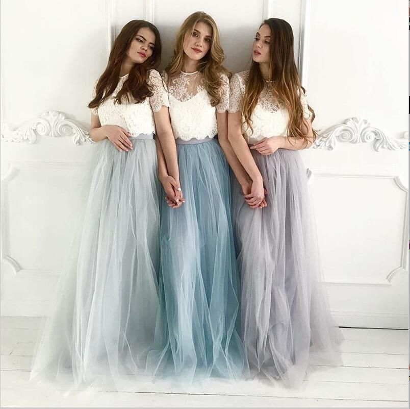 Cheap Two Piece Round Neck Long Light Blue Grey Silver Purple Lilac Tulle With Top Lace Bridesmaid Dresses, WG270 -   17 dress Bridesmaid tulle ideas