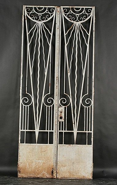 Pr Art Deco Gates Wrought Iron Sun Ray C 1920 Lot 539 Art Deco