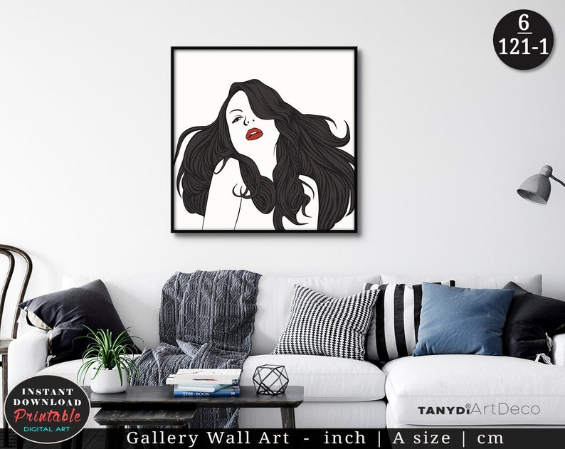 Black Hair Woman With Red Lips Line Art Black White Woman Etsy Bohemian Wall Art Art Art Gallery Wall