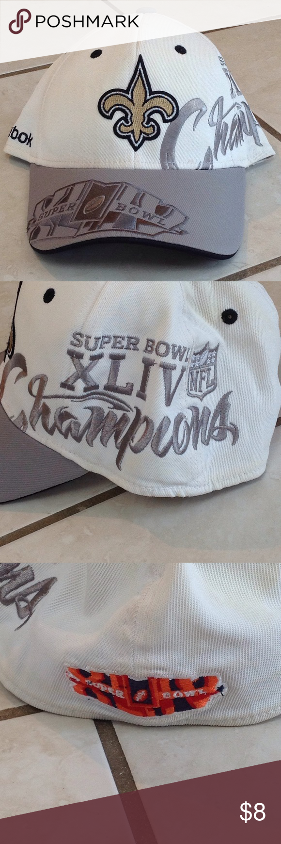 New Orleans Saints Super Bowl Chanps Hat In decent condition, but can tell it has been worn. Says one size fits all, but feels a bit snug on a large adult head Reebok Accessories Hats