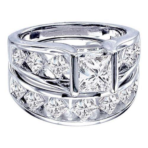 two hearts collection princess cut diamond engagement ring 14k white gold diamond engagement rings - Princess Cut Diamond Wedding Rings