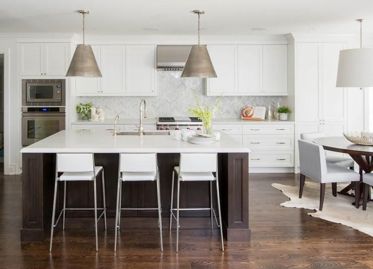 White Kitchen Espresso Island white kitchen with espresso island, transitional, kitchen