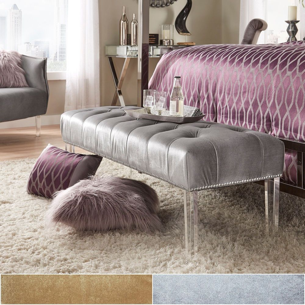 Maiah Glam Velvet & Acrylic Button Tufted Bench Gold - Inspire Q Silver -  Inspire Q