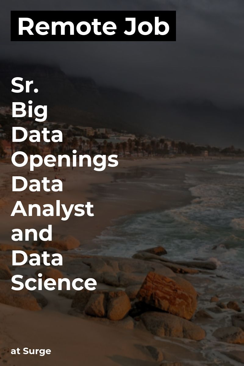 Remote Sr. Big Data Openings Data Analyst and Data