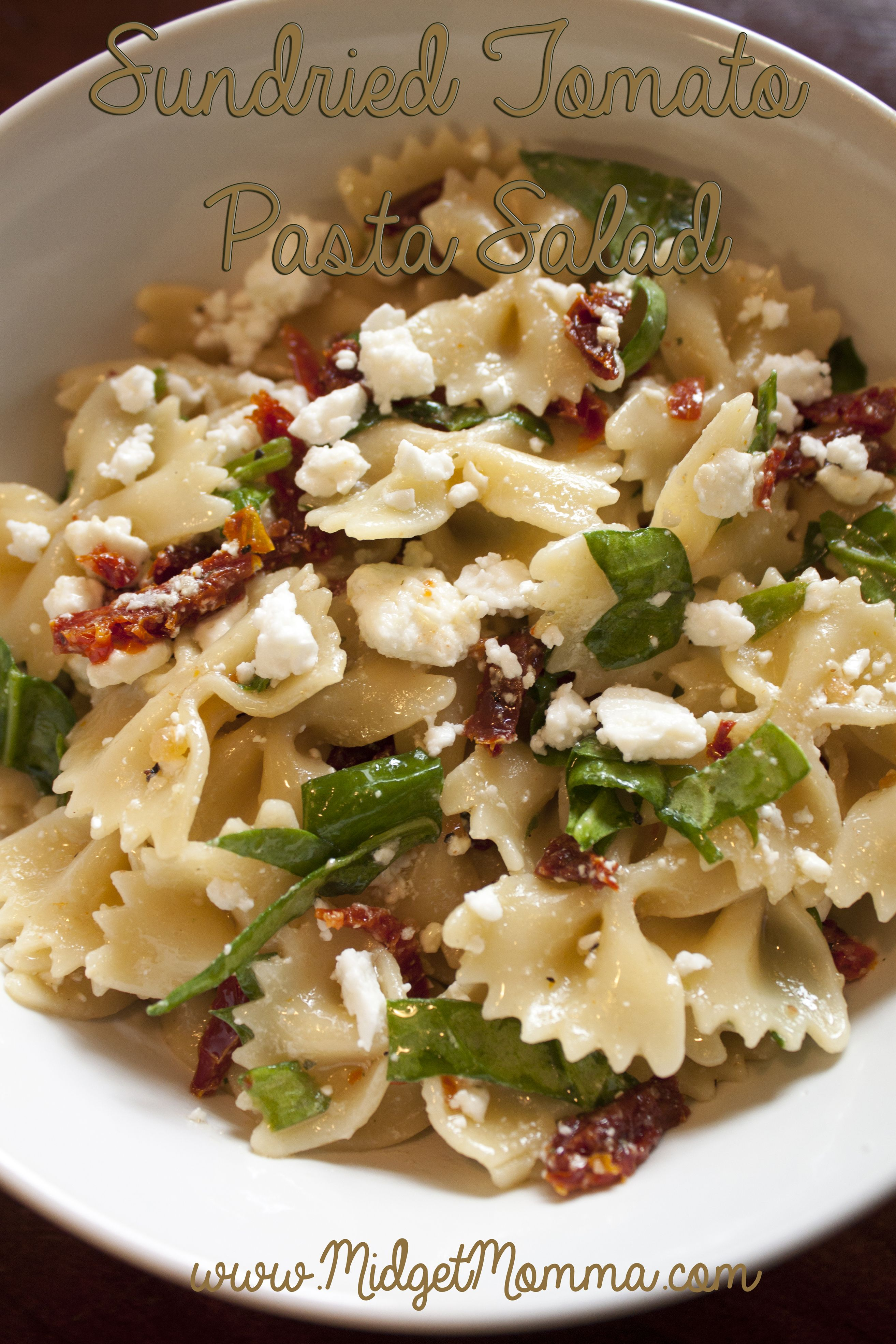 Sundried Tomato Pasta Salad with Spinach and Feta Cheese