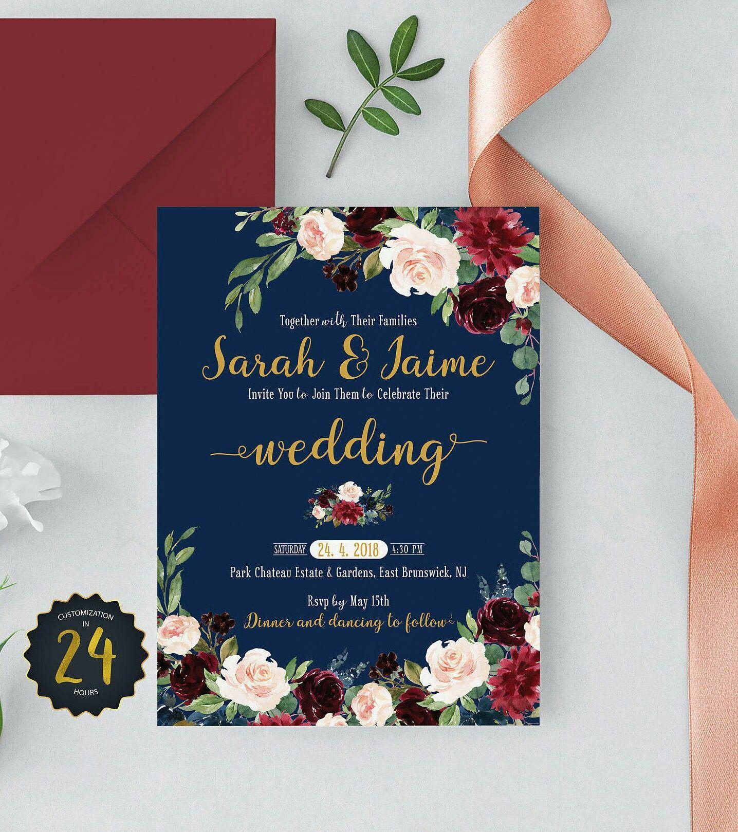 Burgundy and Navy wedding invitations