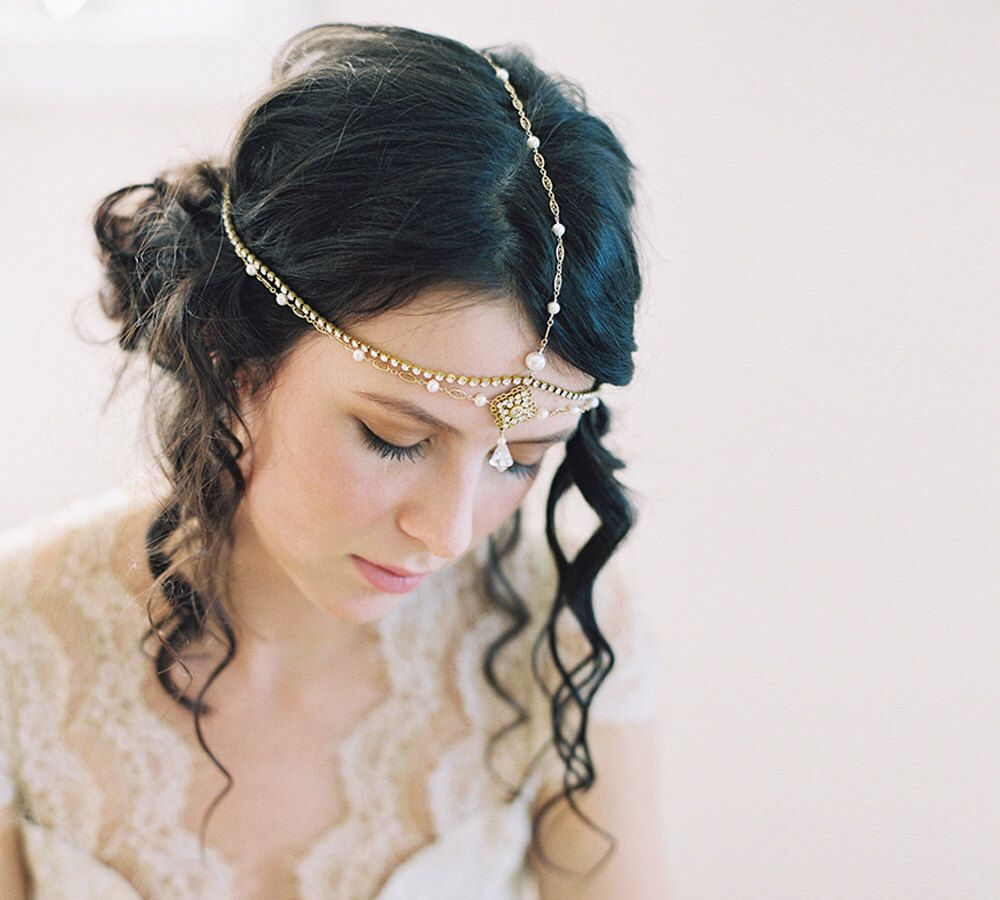 wedding morrocan chain headband, hair jewelry- desert princess no