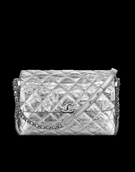 4676beb5222dc7 Flap bag, metallic crumpled calfskin & silver-tone metal-silver - CHANEL