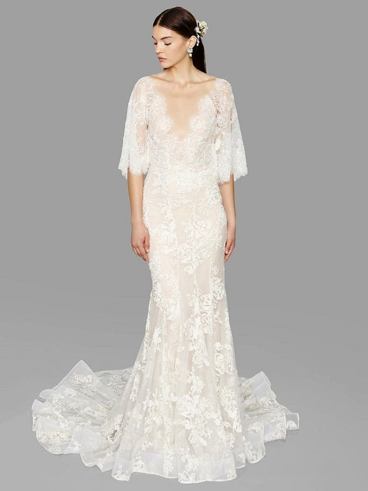three quarter sleeve mermaid lace wedding dress from Marchesa bridal fall 2017 | fabmood.com #bridal #engaged #weddings #weddingdresses #wedding #weddingdress #bridalgown #weddinggown