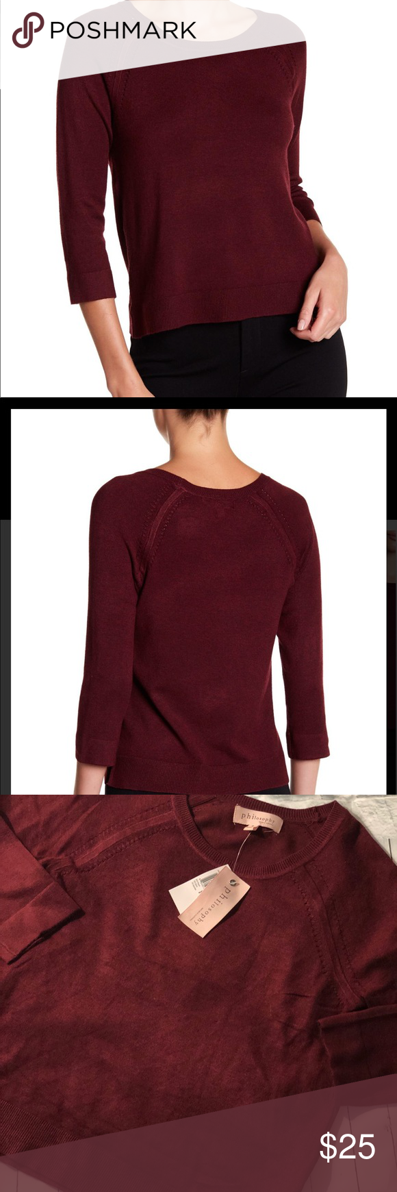 Philosophy red sleeve pointelle knit sweater nwt