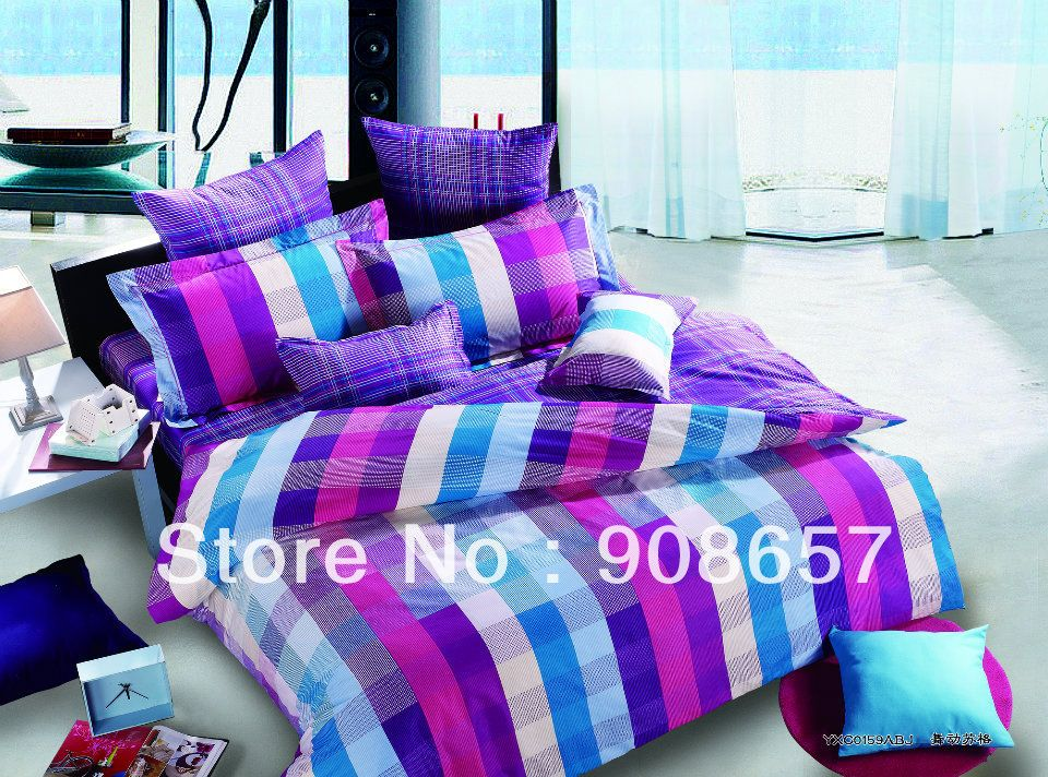 500TC abstract plaid purple blue print discount cotton bed