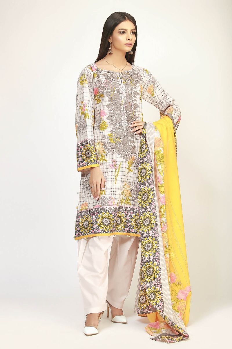 23649a0bad Khaadi The Tale of Spring Lawn Collection 2019 – BR19102 Grey 3Pc in ...