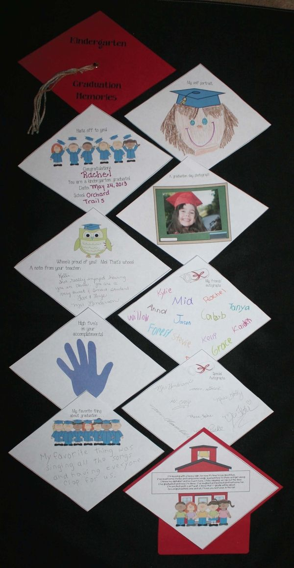 Kindergarten or Preschool Graduation Memory Book. Free templates. When assembled looks like a motarboard!
