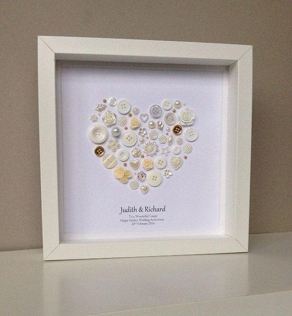 Golden Wedding Anniversary Button Art 50th Anniversary Gift Golden Annivers
