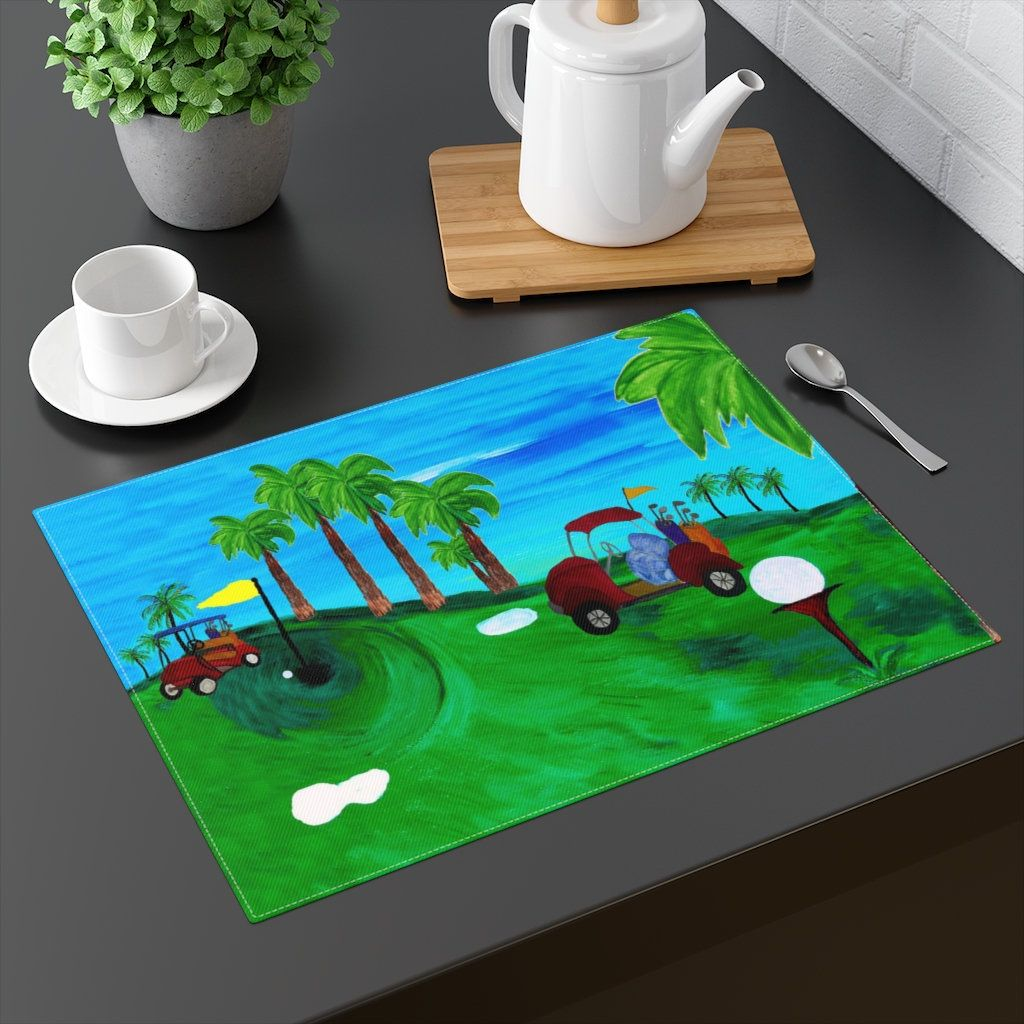 Golf Course Design Table Top Place Mats With My Art Placemats Coastal Art Table Design