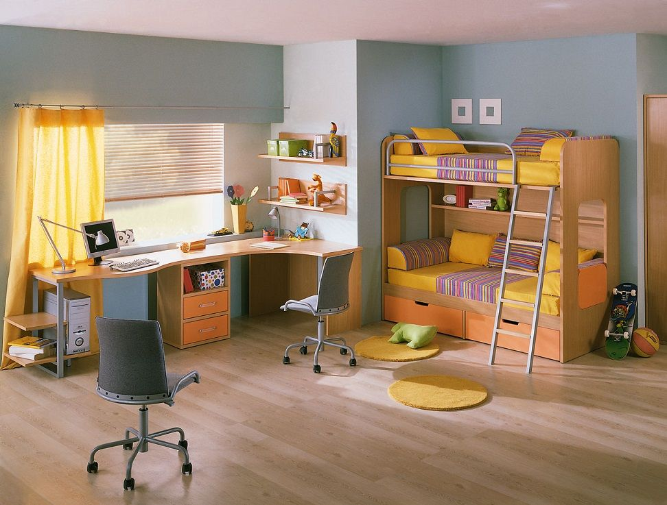 Kids Bunk Bed Study Table Blinds And Wooden Flooring Room Design