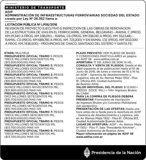 CRÓNICA FERROVIARIA: Llamado a Licitación Nro. LP06/2016 Revisión de Pr...
