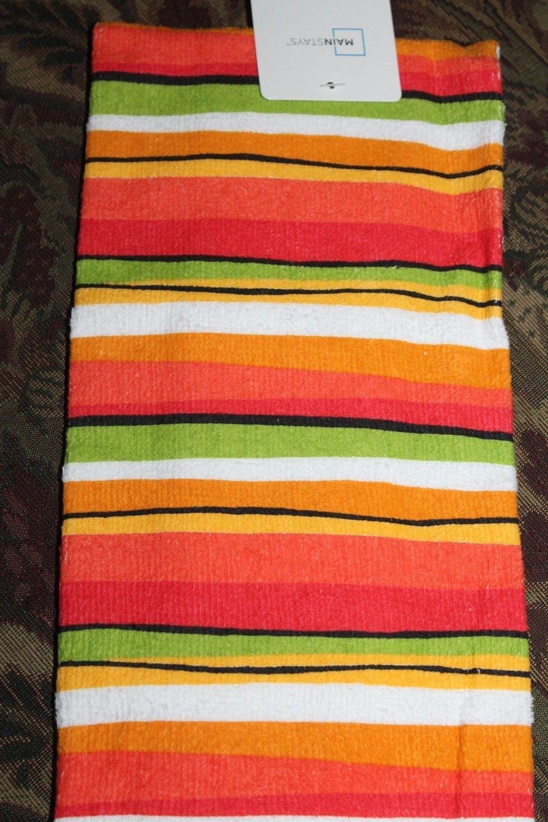 3 5 Cotton Kitchen Hand Dish Towel Wavy Stripes Orange Green