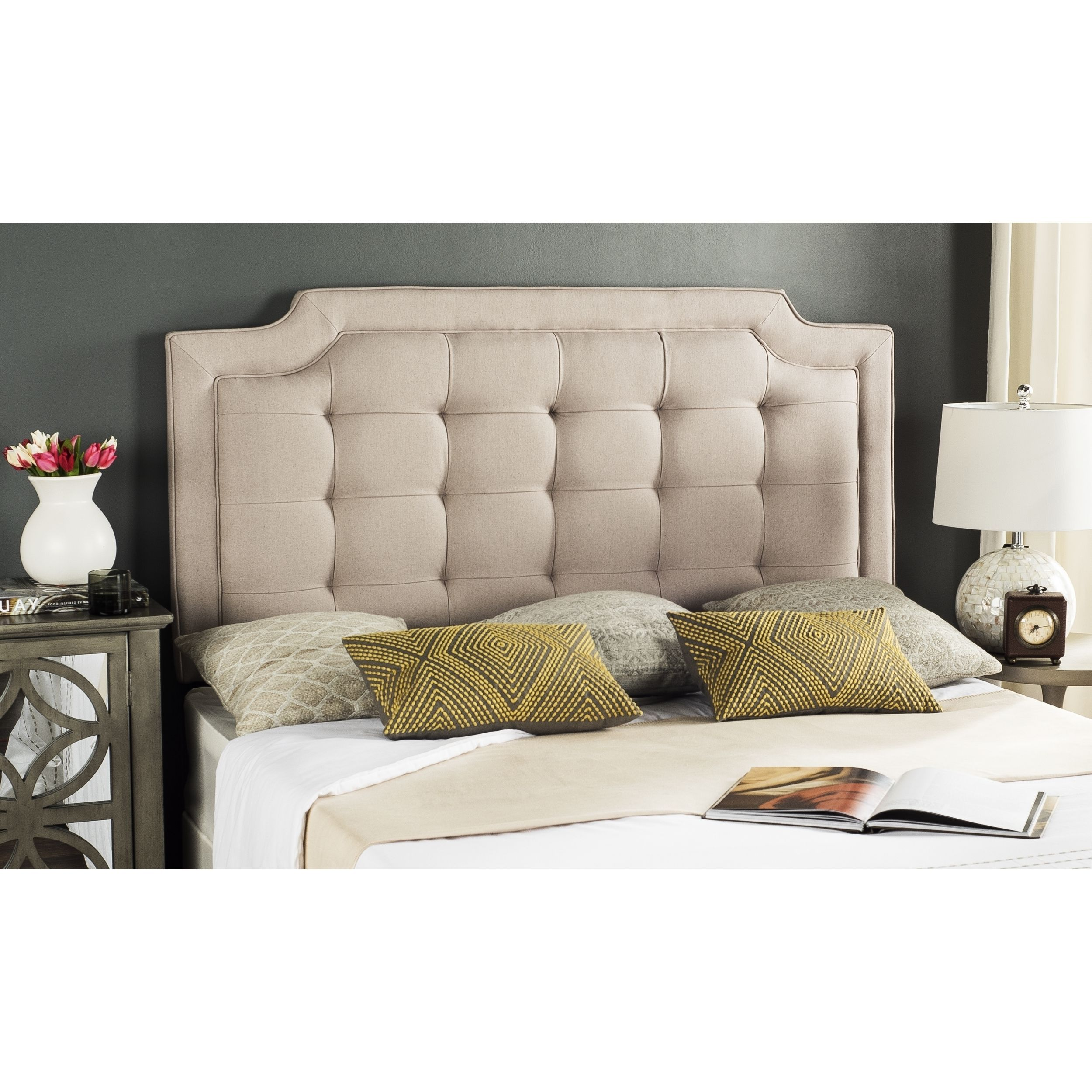 Safavieh Saphire Taupe Brown Upholstered Tufted Headboard Queen  # Muebles Saphire