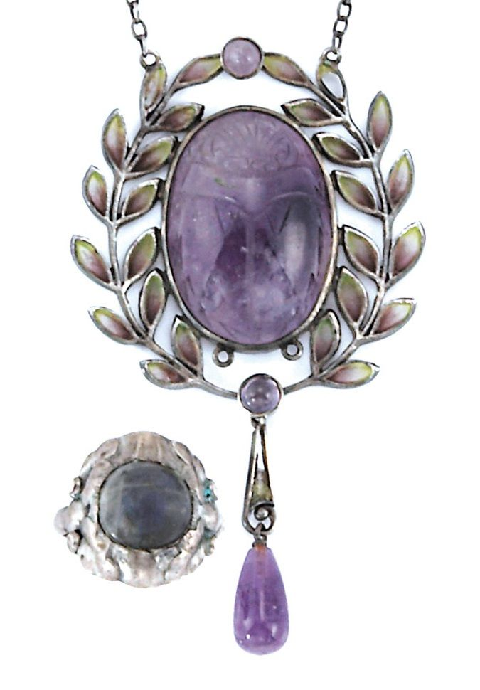 Sterling Silver, Amethyst Scarab and Enamel Lavaliere and Labradorite Ring, Georg Jensen. Ring signed GI 11, c. 1900.