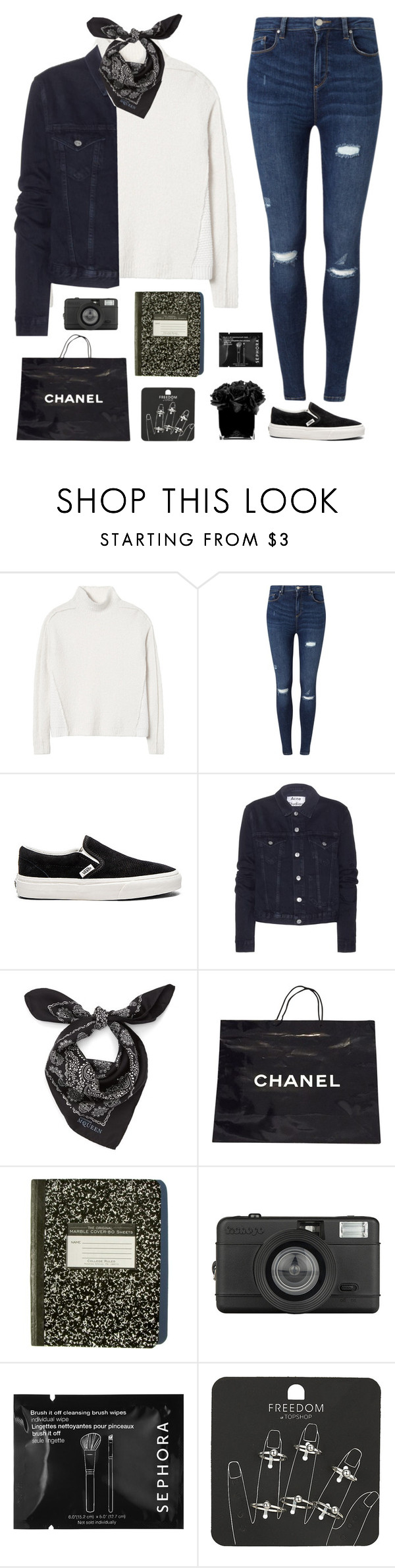 """""""Black and white"""" by genesis129 ❤ liked on Polyvore featuring Rebecca Taylor, Miss Selfridge, Vans, Acne Studios, Alexander McQueen, Chanel, Lomography, Sephora Collection, Topshop and Hervé Gambs"""