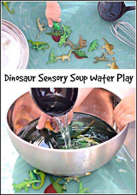 Dinosaur Sensory Soup {Water Sensory Play} | And Next Comes L