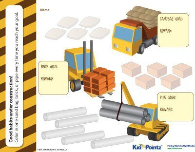 construction site charts: Love the construction themed chart from this site free printable
