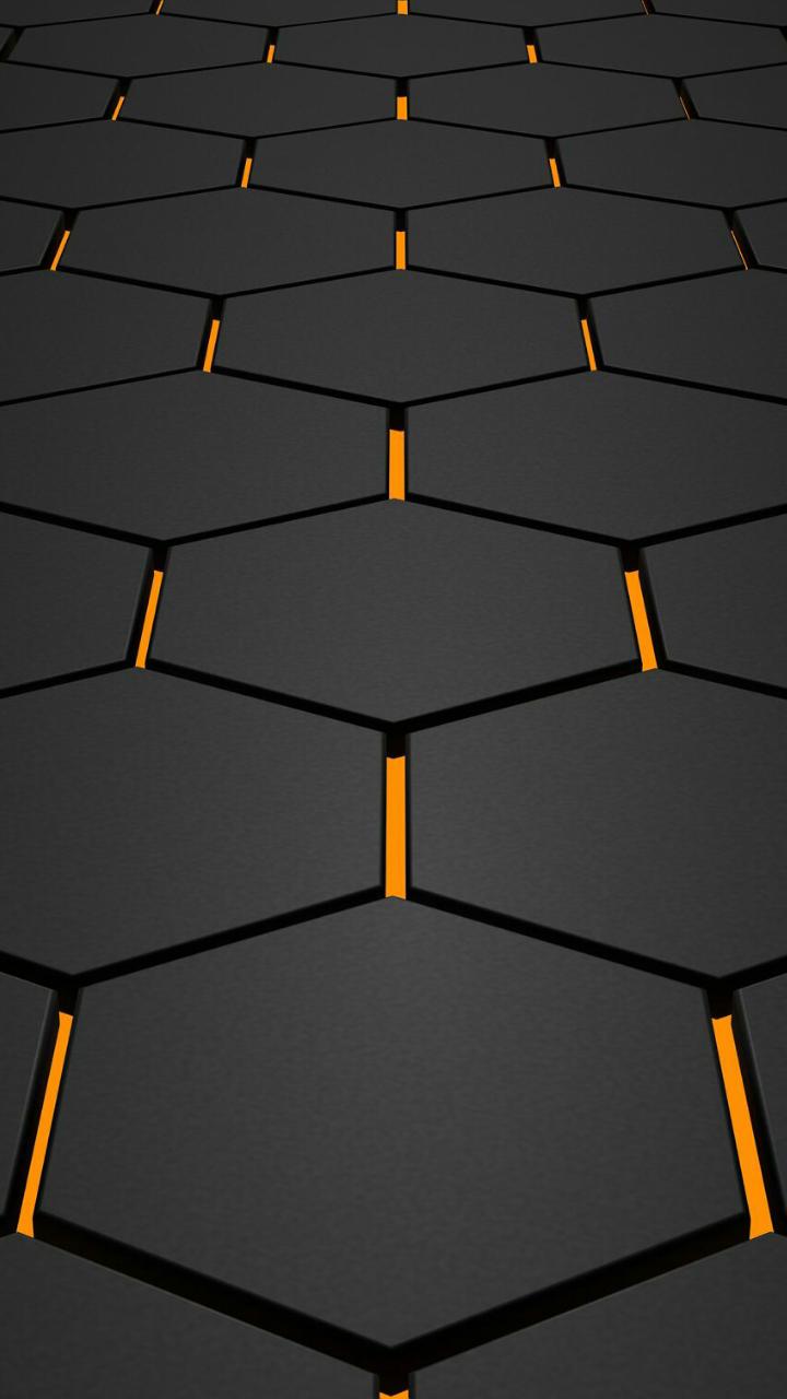 black yellow . hexagons Hexagon wallpaper, Android