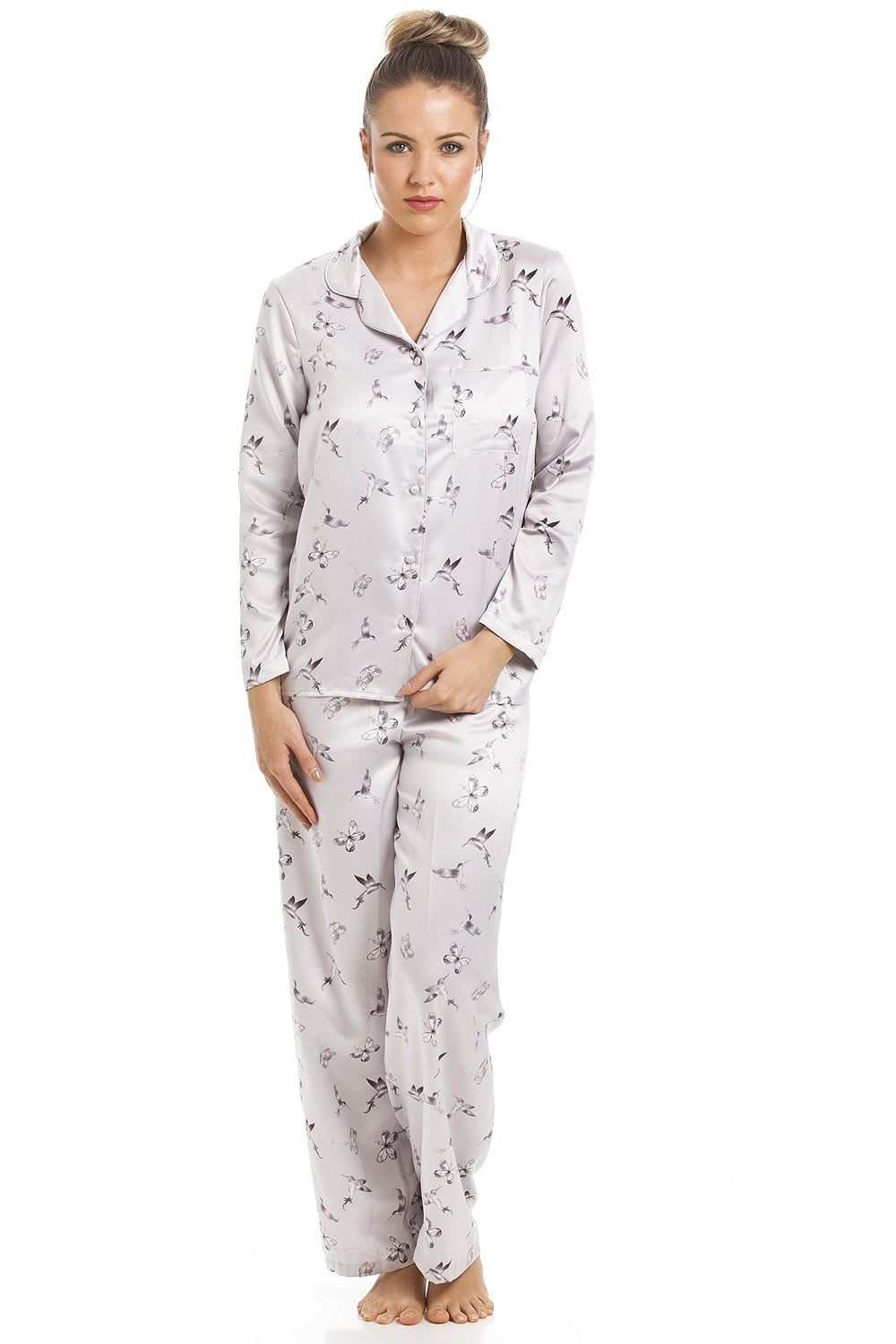 76389c0715ba Silver Humming Bird And Butterfly Print Full Length Satin Pyjama Set ...