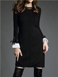 ericdress vestido de suéter del bowknot patchwork llanura …