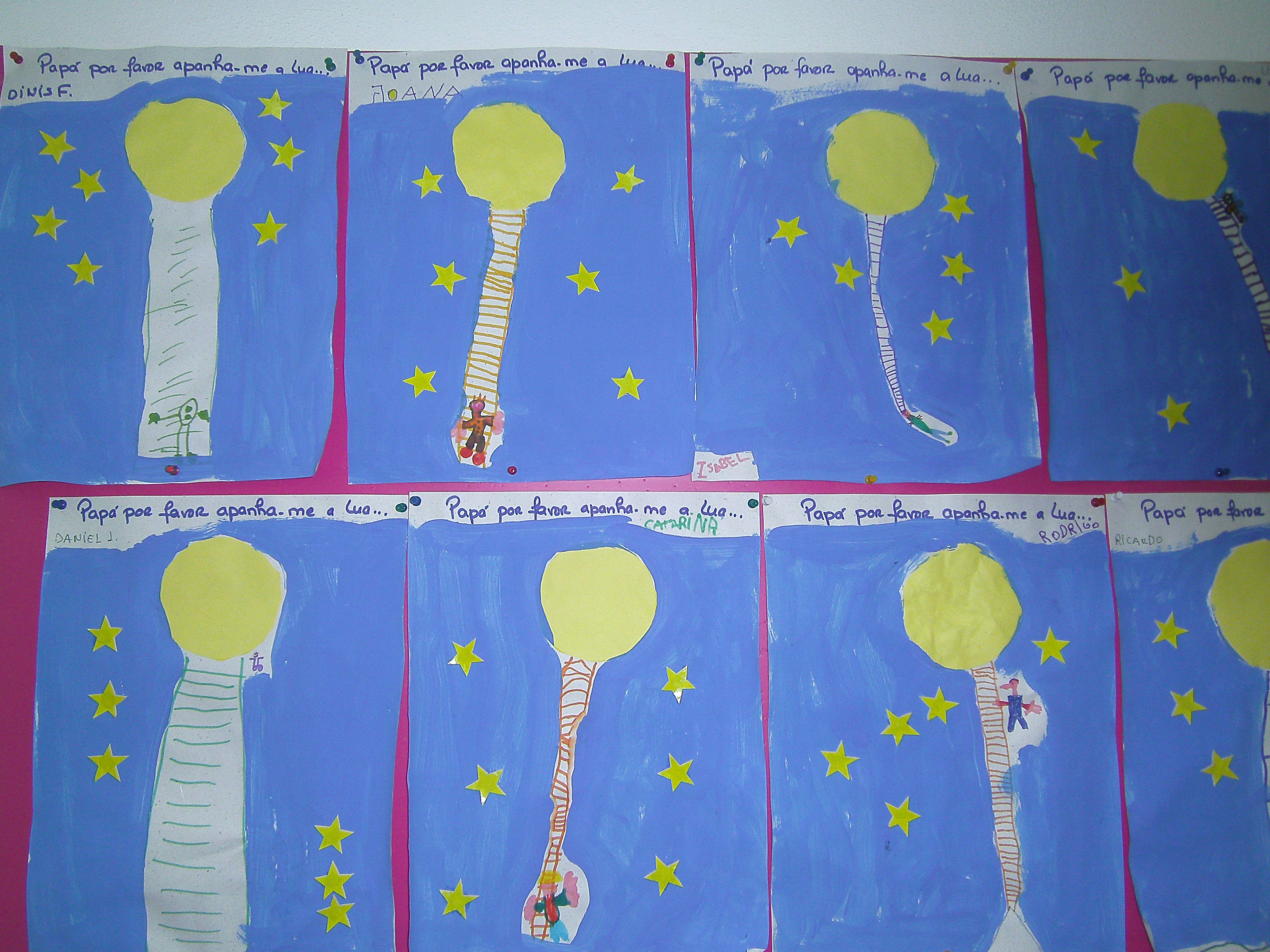 Ilustração da história: Papá por favor apanha-me a lua...