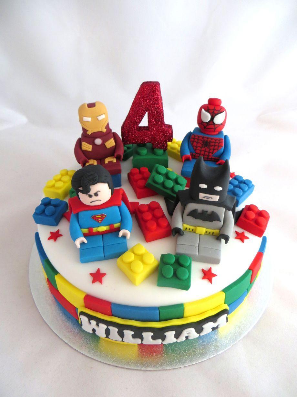 marvel lego cake