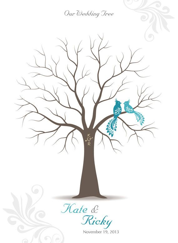 thumb print wedding tree guest book poster with 3 by tjloveprints