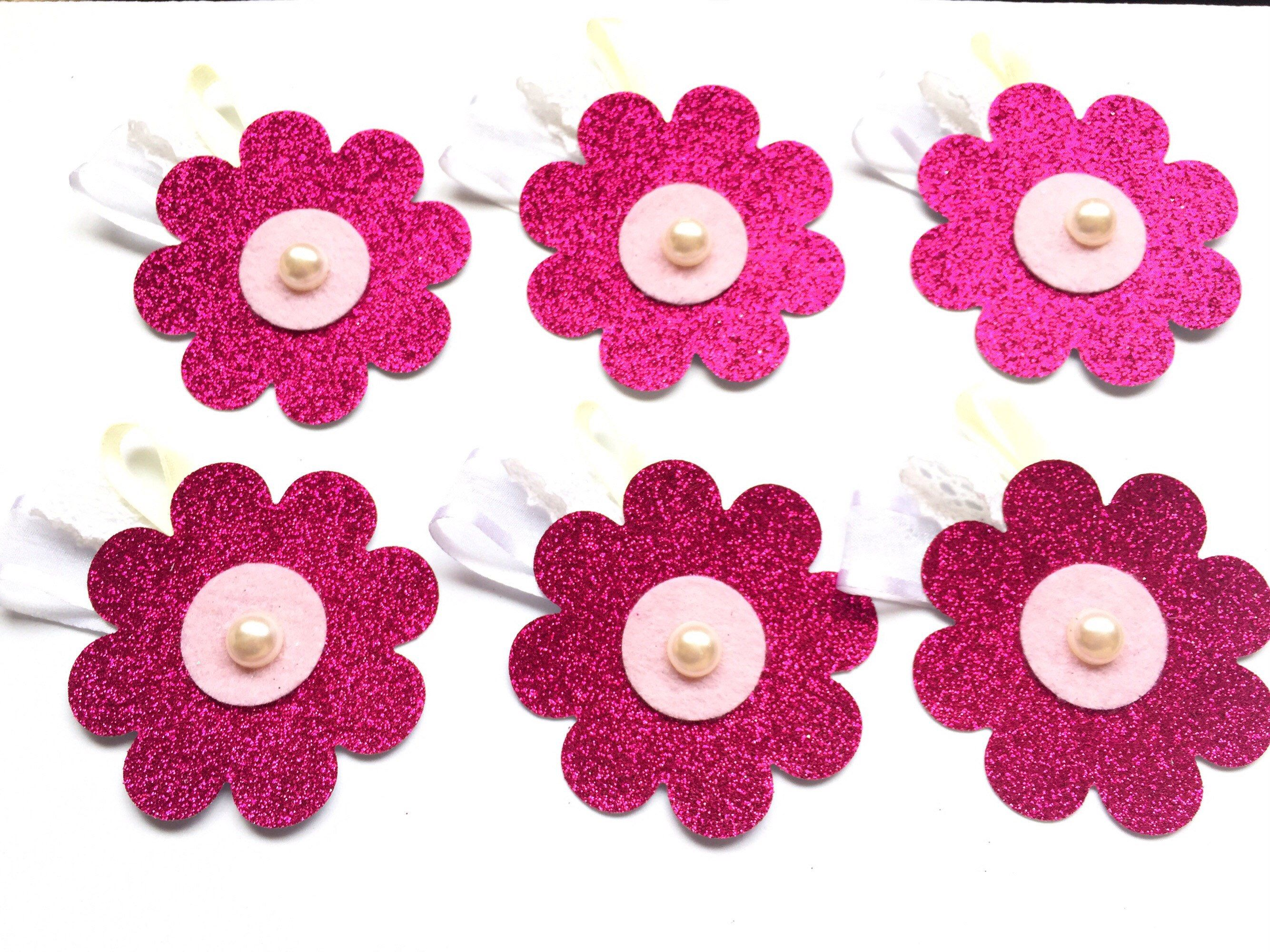 White Pink Silver Glitter Flowers Floral Embellishments Card