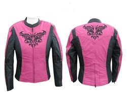 Hot pink embroidered motorcycle jacket.