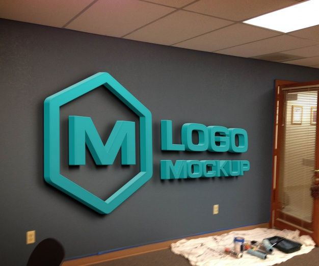 Blue Logo Mock Up On Painted Wall Wall Logo