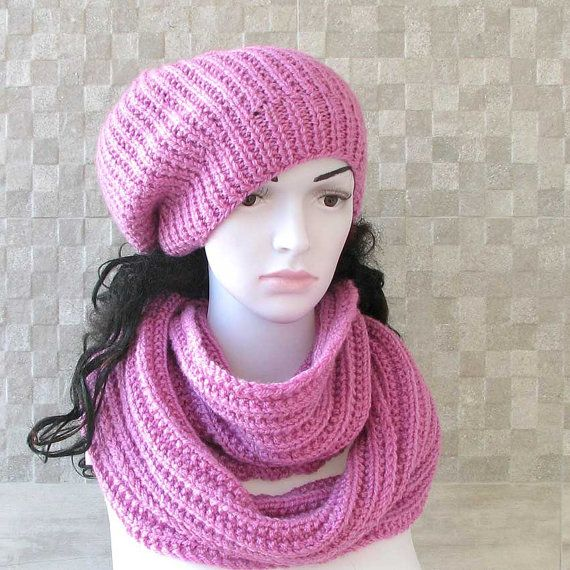 Handmade Knit Hat and Scarf .Womens slouchy  by AlbadoFashion