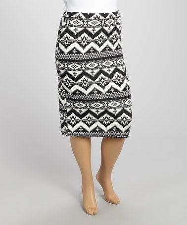 efe64883b48 Look at this  zulilyfind! Black   White Tribal Zigzag Pencil Skirt ...