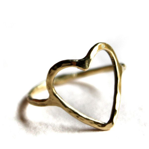 14k Gold Open Heart Ring 640 BRL ❤ liked on Polyvore featuring