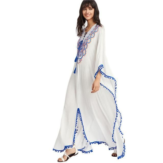 3bd7fb7fe3 SheIn Summer Boho Dress Women Embroidered Dress Deep V Neck Pom-pom Trim  Lace Up Cut Out Back Long Sleeve Poncho Dress